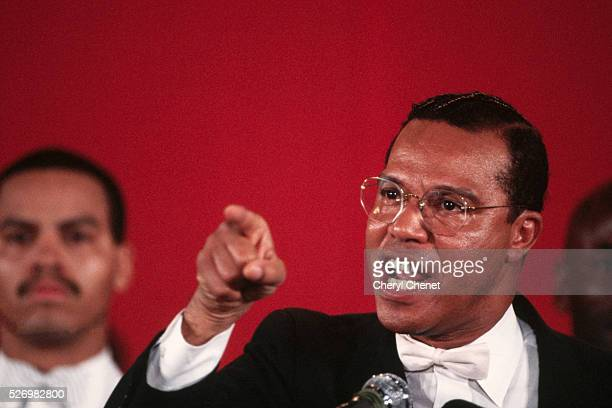 Minister Louis Farrakhan of the National of Islam speaks to followers in Jamaica