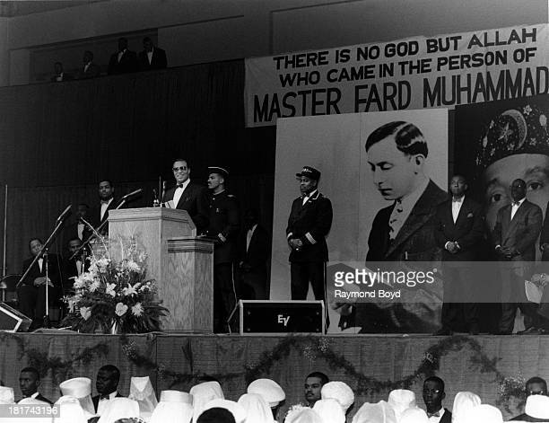 Minister Louis Farrakhan speaks at the UIC Pavilion in Chicago Illinois in JUNE 1994