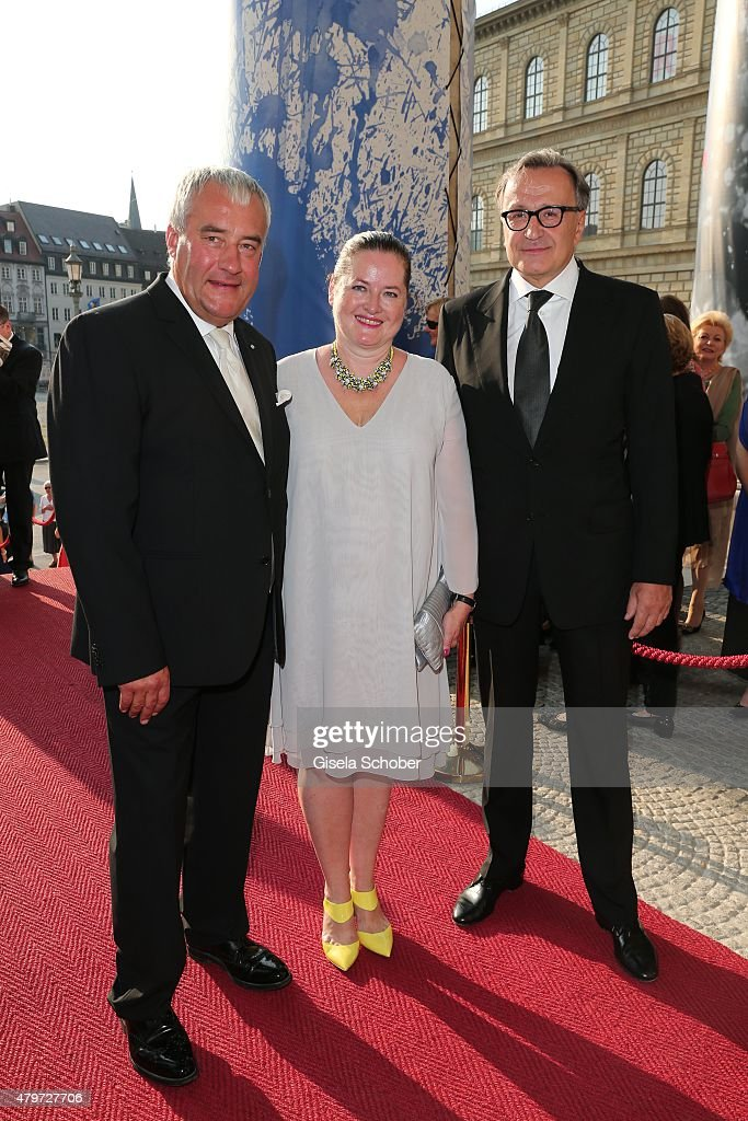 Minister Ludwig Spaenle and his wife Miriam, Klaus Bachler during the premiere of the opera 'Arabella' on July 6, 2015 in Munich, Germany.