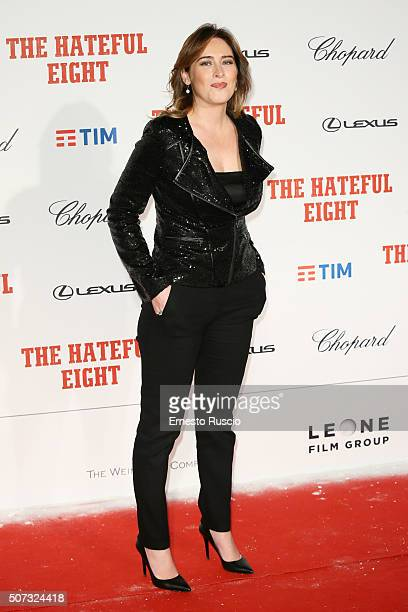 Minister Maria Elena Boschi walks the red carpet for 'The Hateful Eight' premiere on January 28 2016 in Rome Italy