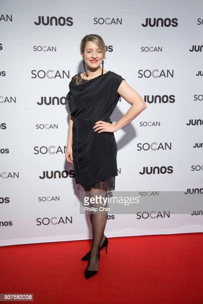 Minister Melanie Joly attends the red carpet at the Juno Gala Dinner and Awards at the Vancouver Convention Centre on March 24 2018 in Vancouver...