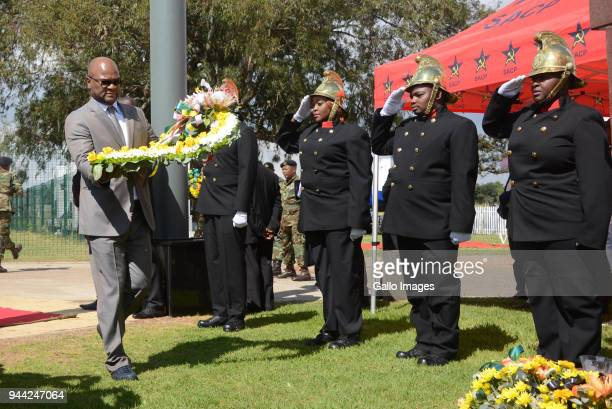 Minister Nathi Mthethwaat the wreath laying ceremony during the 25 year anniversary commemorating Chris Hanis death on April 10 2018 in Boksburg...
