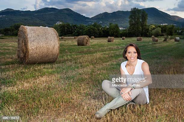 Minister of agricultural food and forestry policies Nunzia De Girolamo posing for a photo shooting at Masseria Abate an organic dairy farm built on...