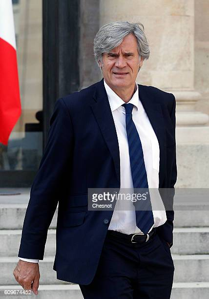 Minister of Agriculture Food and Forestry Government Spokesman Stephane Le Foll leaves the Elysee Presidential Palace after a weekly cabinet meeting...