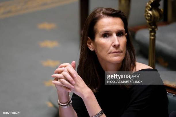 Minister of Budget Sophie Wilmes pictured during a plenary session of the Chamber at the federal parliament in Brussels Thursday 24 January 2019...