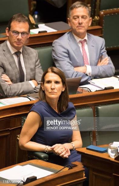 Minister of Budget Sophie Wilmes pictured during a plenary session of the chamber at the federal parliament Thursday 18 July 2019 in Brussels BELGA...