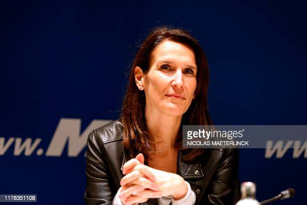 Minister of Budget Sophie Wilmes pictured during a press conference at the headquarters of Frenchspeaking liberals MR in Brussels on March 23 2019...