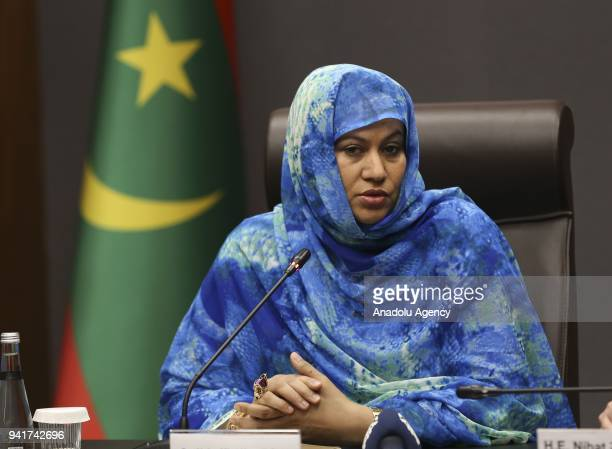 Minister of Commerce Industry Handicraft and Tourism of Mauritania Naha Mint Hamdi Ould Mouknass meets Turkish Economy Minister Nihat Zeybekci in...