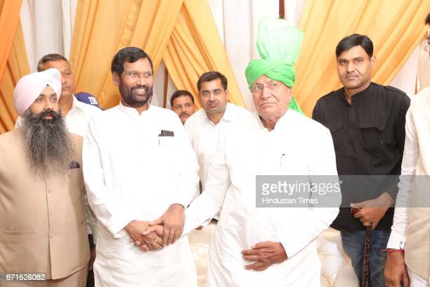 Minister of Consumer Affairs Food and Public Distribution Ram Vilas Paswan and former Haryana Chief Minister Om Prakash Chautala during the wedding...