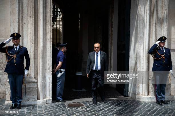 Minister of Cultural Heritage Alberto Bonisoli leaves the 'Palazzo Chigi' after the oath ceremony for 39 undersecretaries and 6 deputy ministers on...