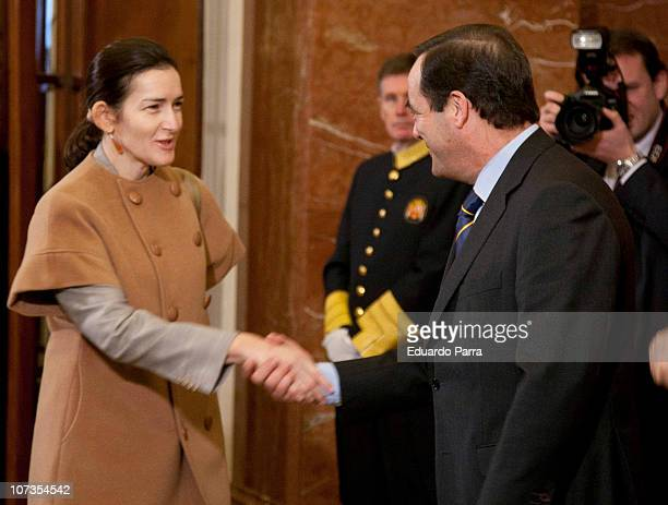 Minister of Culture Angeles Gonzalez Sinde and President of the Congress Jose Bono attend the 32nd anniversary of the Spanish Constitution at...
