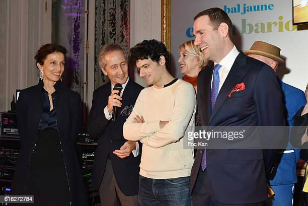 R 21 Minister of Culture Audrey Azoulay Bernard Blistene Laureate Clement Cogitore Colette Barbier Alexandre Ricard attend 'Le Bal Jaune 2016' Dinner...