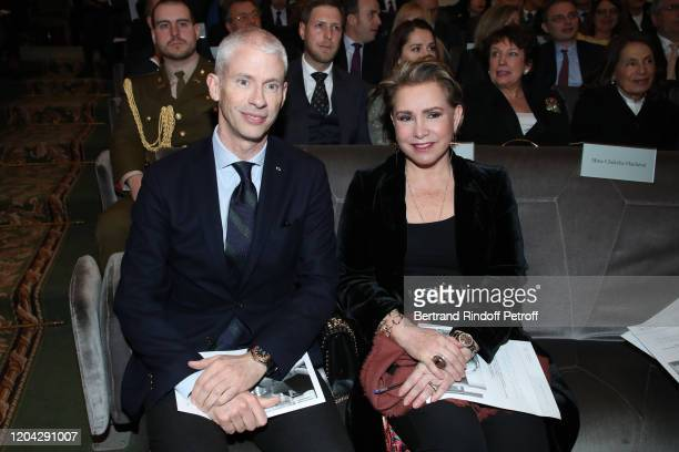 Minister of Culture Franck Riester and Grand Duchess Maria Theresa of Luxembourg attend the Installation of Frederic Mitterrand at the Academie des...