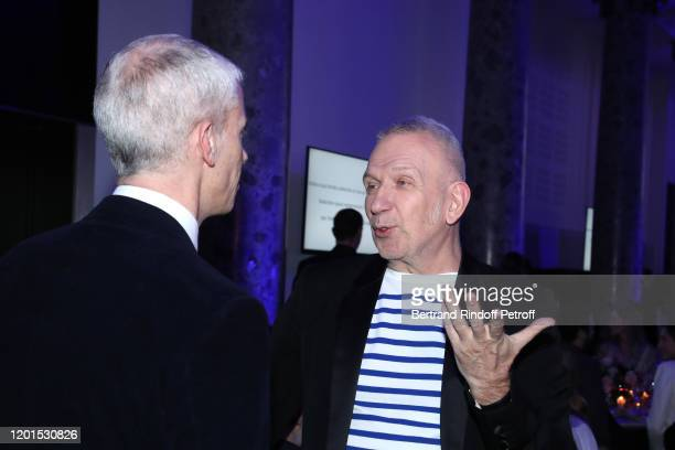 Minister of Culture Franck Riester and Stylist JeanPaul Gaultier attend the Sidaction Gala Dinner 2020 at Pavillon Cambon on January 23 2020 in Paris...