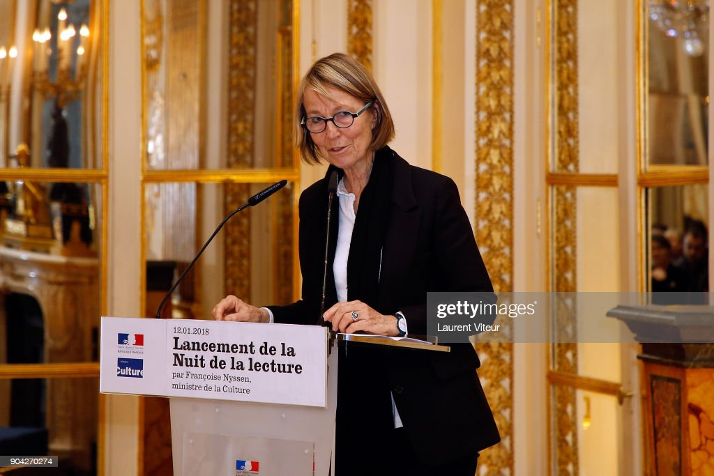 Minister of Culture Francoise Nyssen attends 'La Nuit de la Lecture' Launch Day at Ministere de la Culture on January 12, 2018 in Paris, France.