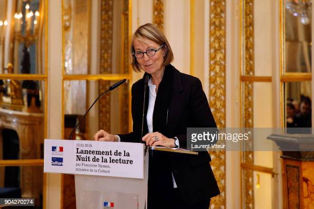 Minister of Culture Francoise Nyssen attends 'La Nuit de la Lecture' Launch Day at Ministere de la Culture on January 12 2018 in Paris France