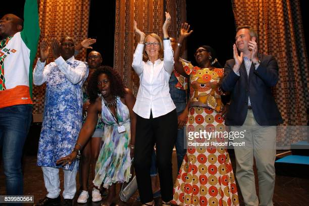 Minister of Culture Francoise Nyssen dances with dancers of Cote d'Ivoire during the 10th Angouleme FrenchSpeaking Film Festival Closing Ceremony on...
