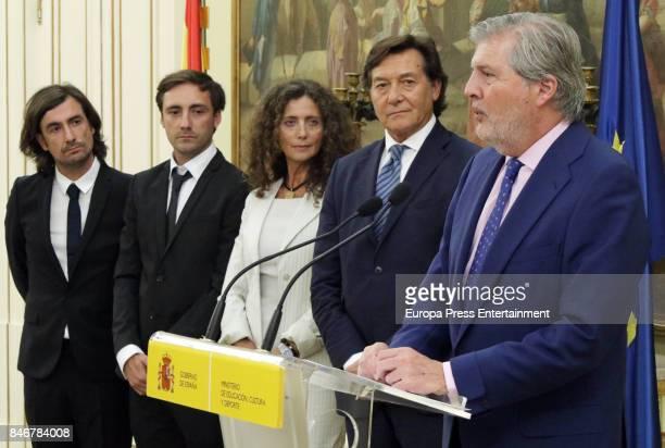 Minister of Culture Inigo Mendez de Vigo receives Angel Nieto's sons Gelete Nieto Pablo Nieto and wife Belinda Alonso to pay homage to the world...