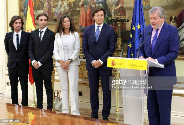 Minister of Culture Inigo Mendez de Vigo receives Angel Nieto's sons Gelete Nieto Pablo Nieto and wife Belinda Alonso to pay homage to the world...