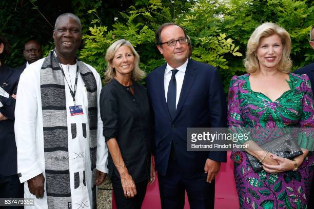 Minister of Culture of Cote d'Ivoire Maurice Kouakou Bandaman journalist Claire Chazal Former French President Francois Hollande and First lady of...