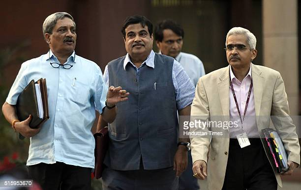 Minister of Defence Manohar Parrikar Union Railway Minister Suresh Prabhu and Minister of Road Transport and Highways Nitin Gadkari during the...