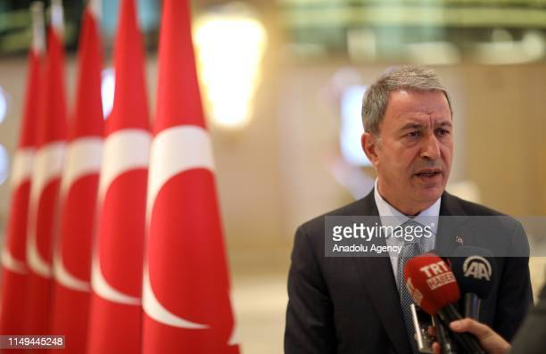 Minister of Defence of Turkey, Hulusi Akar speaks to press members at the 7th Azerbaijan-Georgia-Turkey Trilateral Defence Ministers' Meeting in...