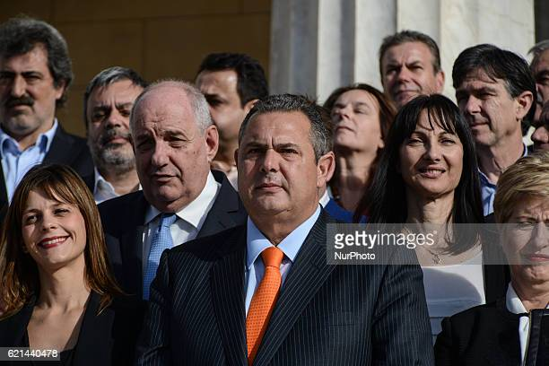 Minister of Defence Panos Kammenos within his colleagues attends kick up meeting of the new cabinet of PM Alexis Tsipras in Athens on November 6 2016