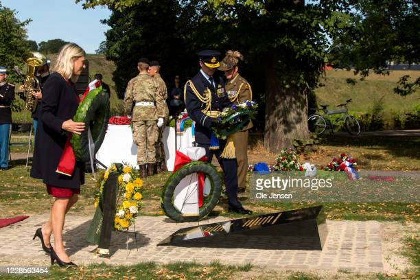 Minister of Defence Trine Bramsen Denmark during the wreath laying ceremony at the official inauguration of the Australian War Monument at the...