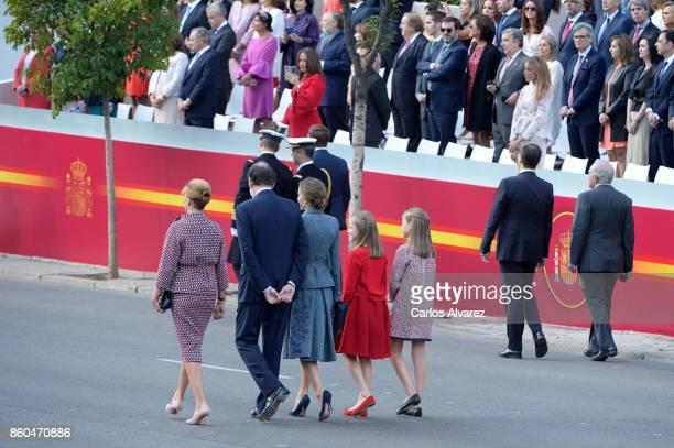 Minister of defense Carme Maria Chacon Piqueras King Felipe of Spain Queen Letizia of Spain Princess Leonor of Spain and Princess Sofia of Spain...