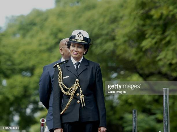 Minister of Defense Lindiwe Sisulu looks on during the Freedom Day Celebrations held at Freedom Park on April 27 2011 in Pretoria South Africa...
