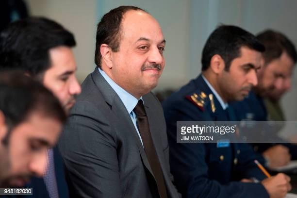 Minister of Defense of Qatar Dr Khalid Bin Mohammed AlAttiyah meets with Secretary of Defense James Mattis at the Pentagon in Washington DC on April...