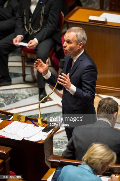 Minister of Ecology Francois De Rugy seen speaking during a session of questions to the government at the National Assembly.
