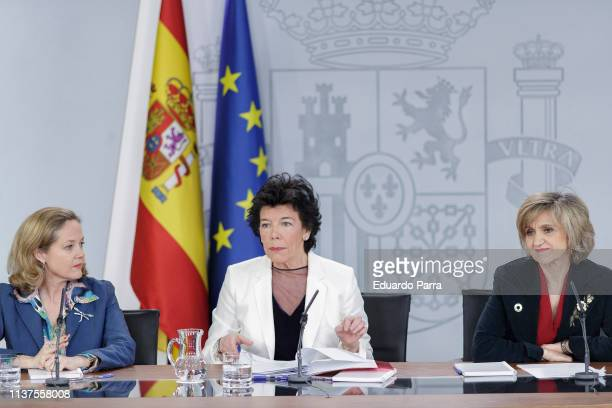 Minister of Economy and Business Nadia Calvino, Minister of Education and spokesperson Isabel Celaa and Minister of Health Caria Luis Carcedo attend...