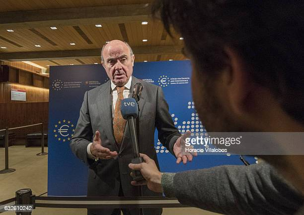 Minister of Economy and Competitiveness of Spain Luis de Guindos Jurado speaks to the press at the end of at the public session of 'A Euro For Growth...