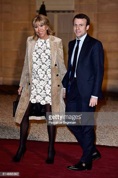 Minister of Economy Emmanuel Macron and his wife Brigitte arrive at The State Dinner in Honor Of King WillemAlexander of the Netherlands and Queen...