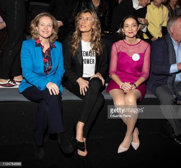 Minister of Economy Nadia Calvino First Lady Begona Gomez and Minister of Industry Reyes Maroto attend Roberto Verino fashion show during the...