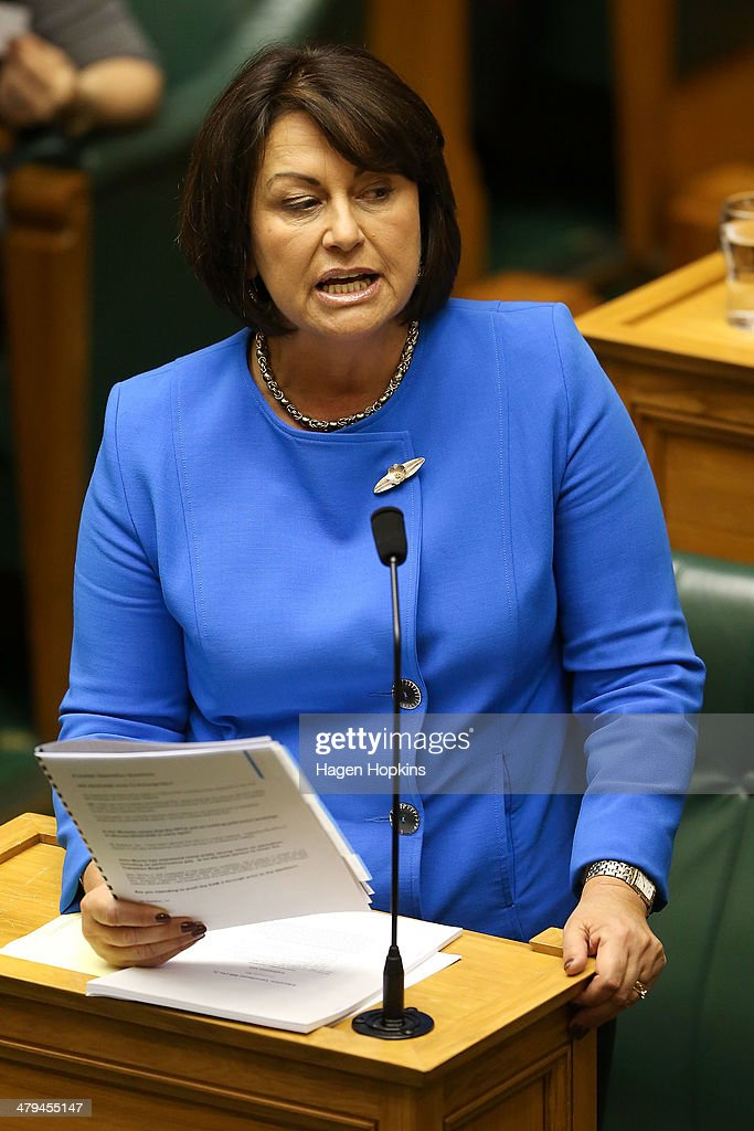Minister of Education and Pacific Island Affairs, Hekia Parata, addresses the house during question time at Parliament on March 19, 2014 in Wellington, New Zealand.