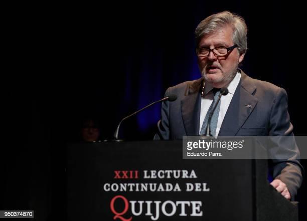 Minister of Education Inigo Mendez de Vigo attends the 'El Quijote' lecture at Circulo de Bellas Artes on April 23 2018 in Madrid Spain