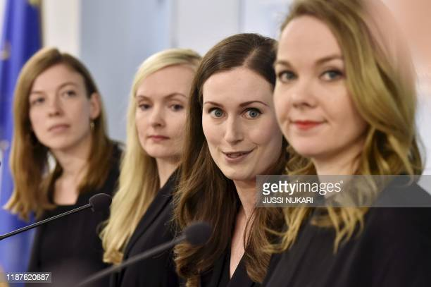Minister of Education Li Andersson Minister of Interior Maria Ohisalo Prime Minister Sanna Marin Minister of Finance Katri Kulmuni give a press...