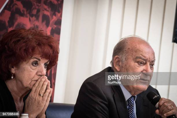 Minister of Education Valeria Fedeli with Giuseppe De Rita Chairman Censis during the Press conference to the foreign press On the occasion of the...