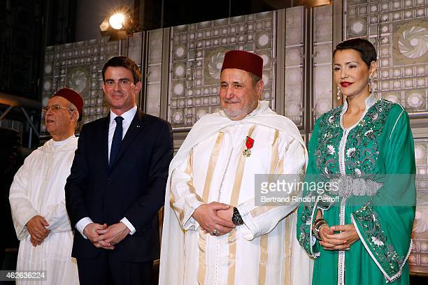 Minister of Endowments and Islamic Affairs of Morocco Ahmed Toufiq French Prime Minister Manuel Valls Rector of the Mosque of Evry awarded Khalil...