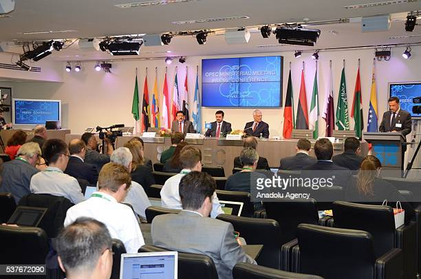 Minister of Energy and Industry of Qatar and President of the OPEC Conference Mohammed Bin Saleh AlSada makes statements to the media during a press...