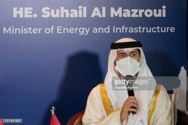 Minister of Energy and Infrastructure Suhail Al Mazrouei speaks during a press conference at Grand Hyatt Hotel in Jakarta, Indonesia on March 5,...