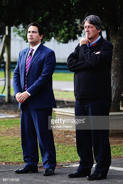 Minister of Energy and Resources Simon Bridges and Vector Energy Chairman Michael Stiassny look on during the launch the Tesla Powerwall battery at...