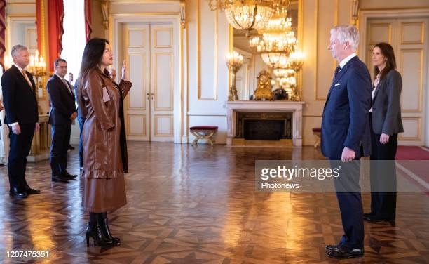 Minister of Energy Environment and Sustainable Development MarieChristine Marghem King Philippe Filip of Belgium and Belgian Prime Minister Sophie...