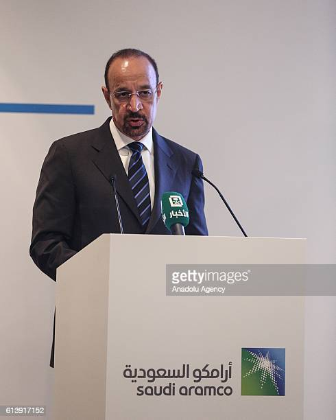 Minister of Energy Industry and Mineral Resources of Saudi Arabia Khalid A AlFalih delivers a speech during memorandum of understanding signing...