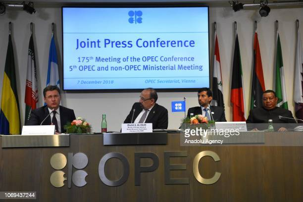 Minister of Energy Industry and Mineral Resources of Saudi Arabia Khalid alFalih Russian Energy Minister Aleksandr Novak UAE Minister of Energy and...