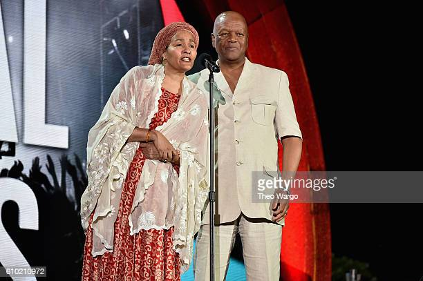 Minister of Environment of Nigeria Amina J Mohammed and Minister Jeff Radebe speak onstage at the 2016 Global Citizen Festival In Central Park To End...