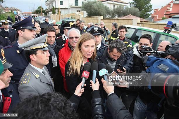 Minister of Environment Stefania Prestigiacomo visits the town of Maierato on February 22 near Reggio Calabria Italy The southern Italian town was...