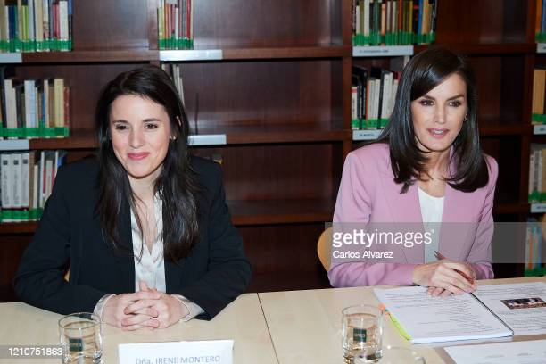 Minister of Equality Irene Montero and Queen Letizia of Spain attend a meeting with APRAMP on March 06 2020 in Madrid Spain